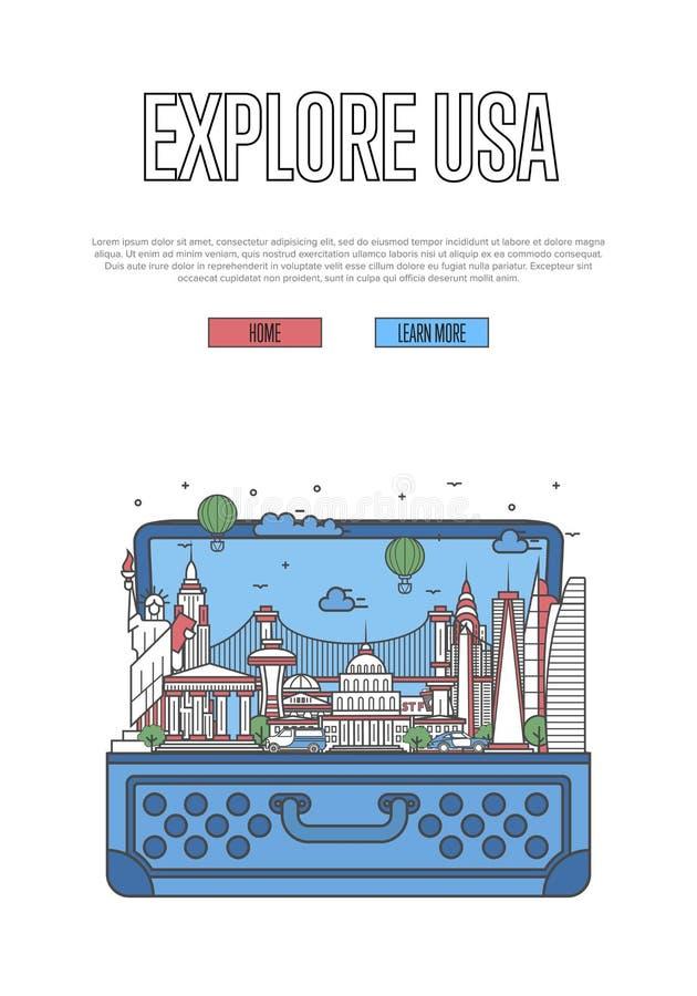 Explorez l'affiche des Etats-Unis avec la valise ouverte illustration libre de droits