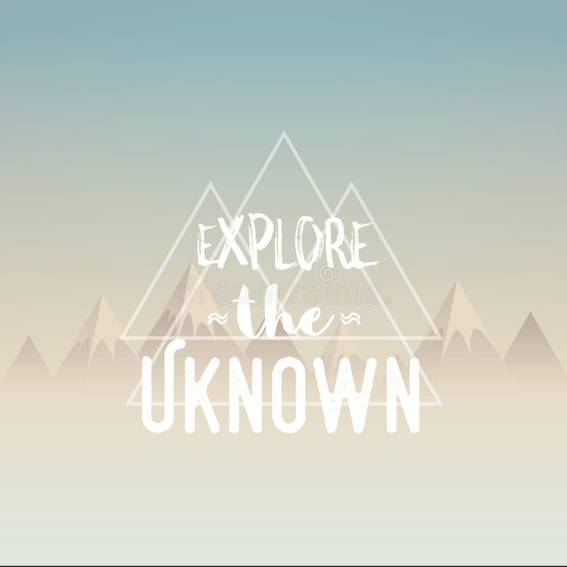 Explorez l'illustration inconnue de concept Les montagnes de polygone aménagent en parc en brume de matin avec la rétro citation  illustration de vecteur