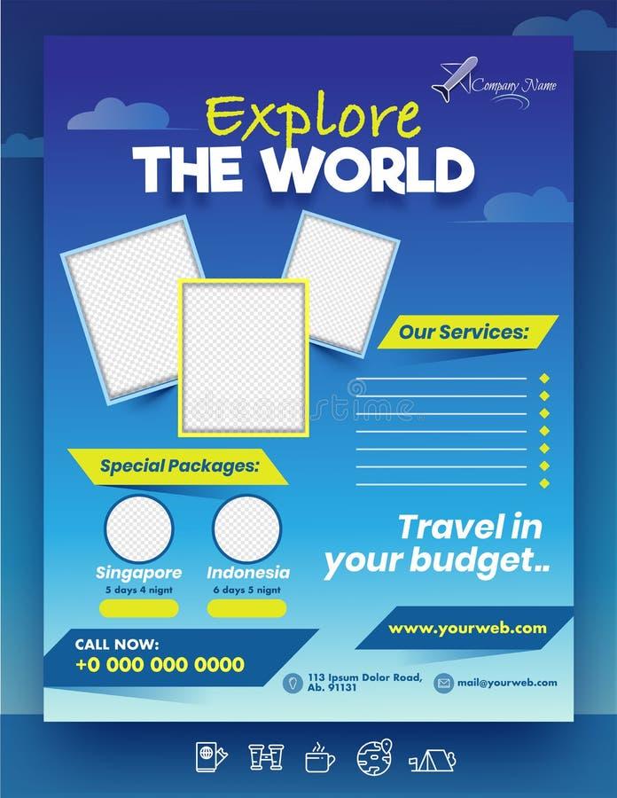 Explorez le modèle ou la conception d'une brochure The World avec des cadres photo vierges, des forfaits spéciaux illustration de vecteur