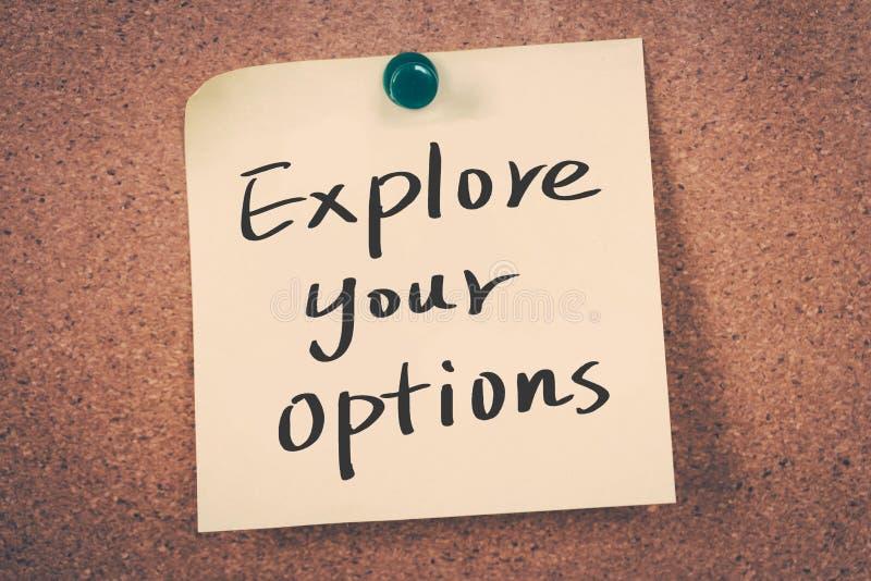 explorez vos options photographie stock