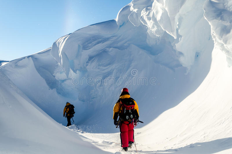Exploring the Antarctic Ice. Exploring down inside an Antarctic ice-shelf. Halley Bay, Antarctica royalty free stock photography