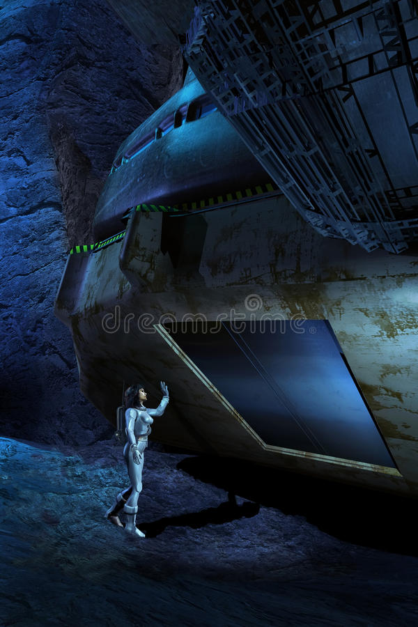 Exploring the cavern. Woman in a spatial suit finding the entrance to the interior of a spacecraft hidden in a cavern vector illustration