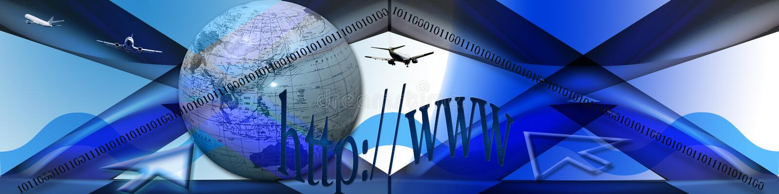 Exploring the Internet. This banner has an abstract background with waves. The globe, binary codes, planes and text are symbols and leading to the title vector illustration