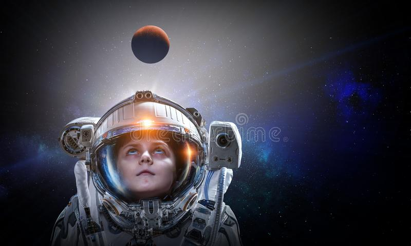 Exploring outer space. Mixed media royalty free stock photography