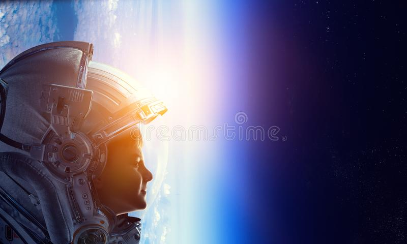 Exploring outer space. Mixed media royalty free stock image