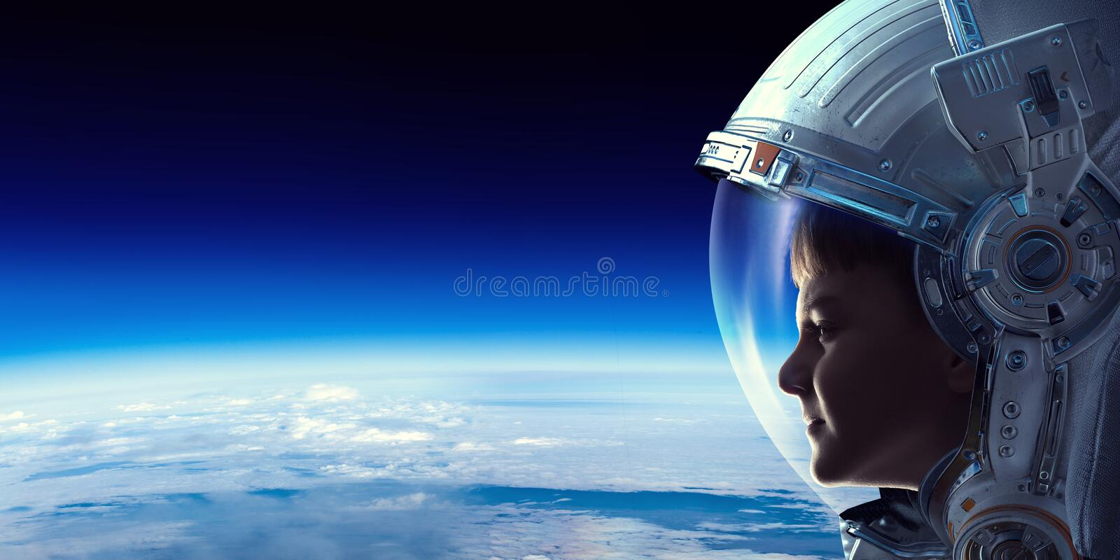 Exploring outer space. Mixed media stock photo