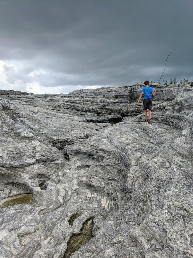 Exploring the seashore in Eleuthera Bahamas stock photos