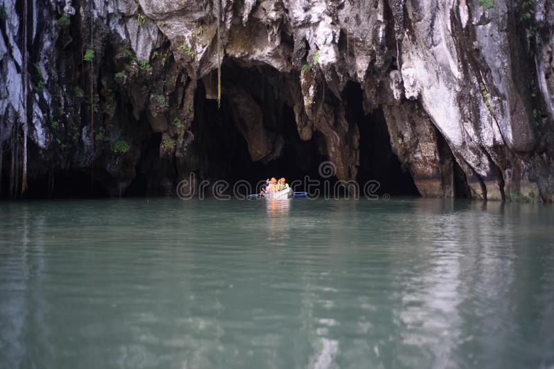 Exploring underground river at Puerto Princesa, Palawan, Philippines stock image