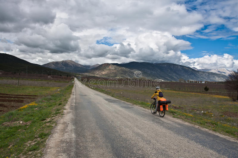 Exploring the world by bicycle. stock photos