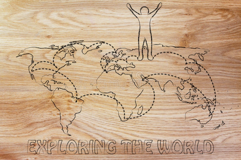 Exploring The World Happy Man On Map With Visited Places Stock - Places visited map