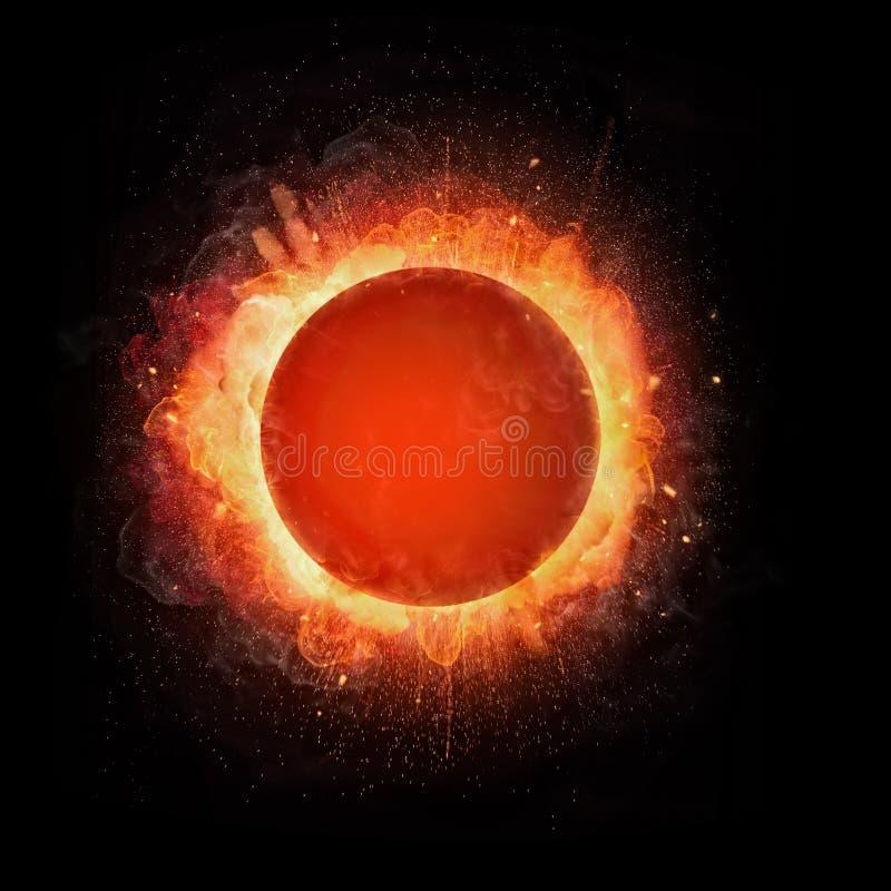 Explosão abstrata da bola de fogo com espaço livre para o texto em b preto ilustração do vetor