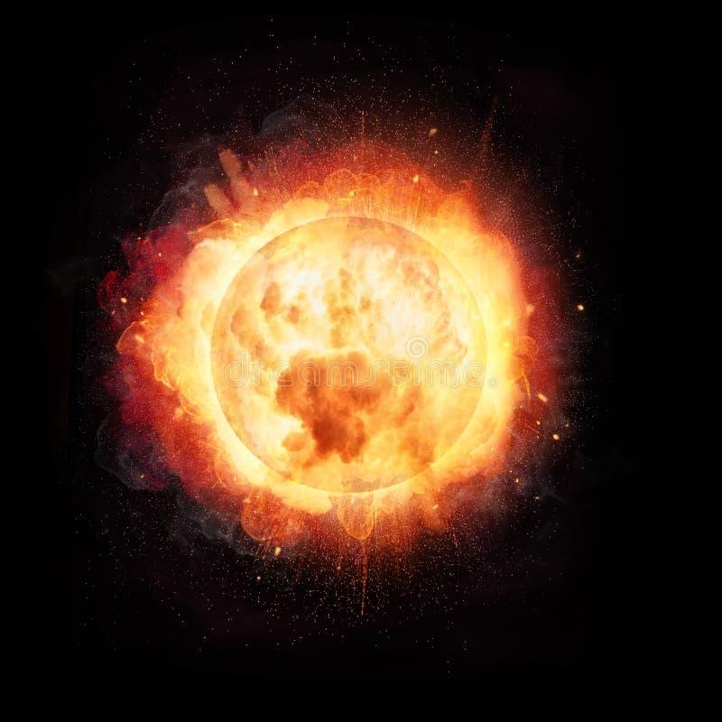 A explosão abstrata da bola de fogo gosta do conceito de Sun no backg preto imagem de stock