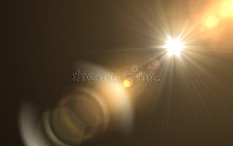 Explosão abstrata do sol com fundo digital do alargamento da lente A lente digital abstrata alarga-se efeitos da luz especiais no imagens de stock