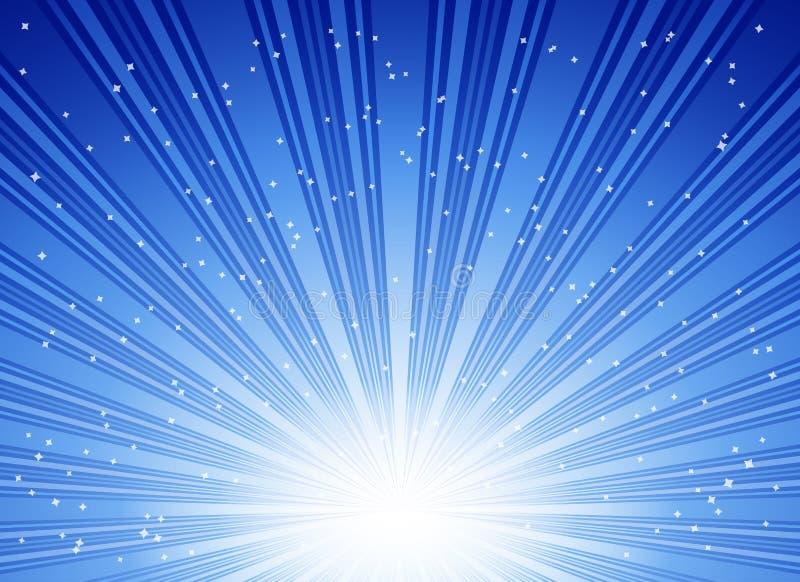 Explosão azul abstrata das estrelas ilustração royalty free