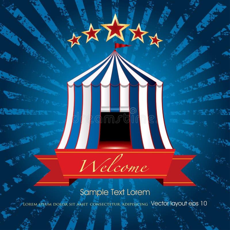 Explosão azul bem-vinda do circo ilustração royalty free