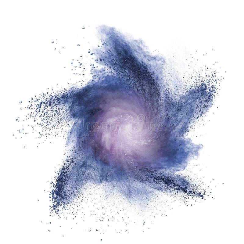 Explosão azul do pó isolada no branco foto de stock royalty free
