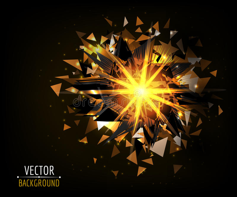 Explosão brilhante na obscuridade Fundo abstrato do vetor ilustração do vetor