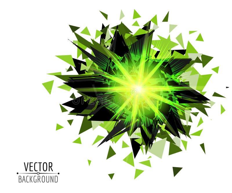 Explosão brilhante na obscuridade Fundo abstrato do vetor ilustração stock