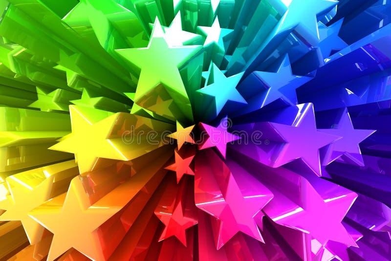 Explosão colorida das estrelas ilustração do vetor