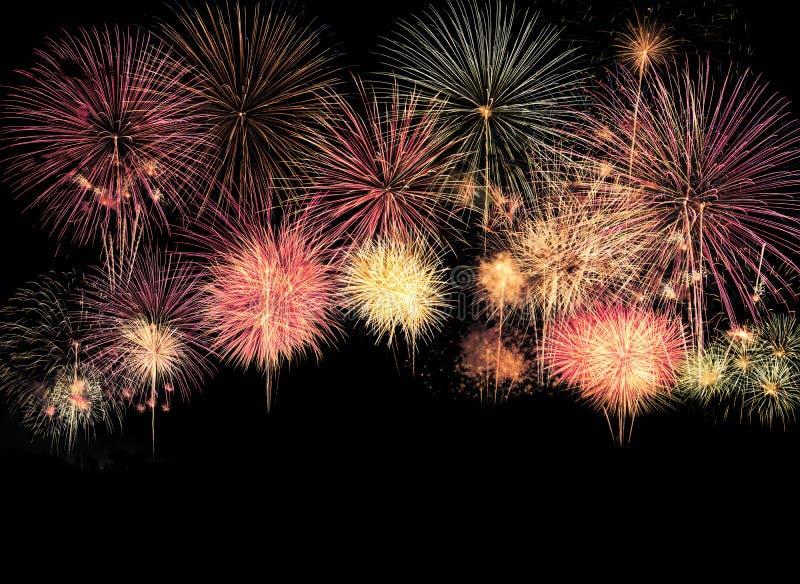 Explosão colorida dos fogos de artifício no festival anual fotos de stock