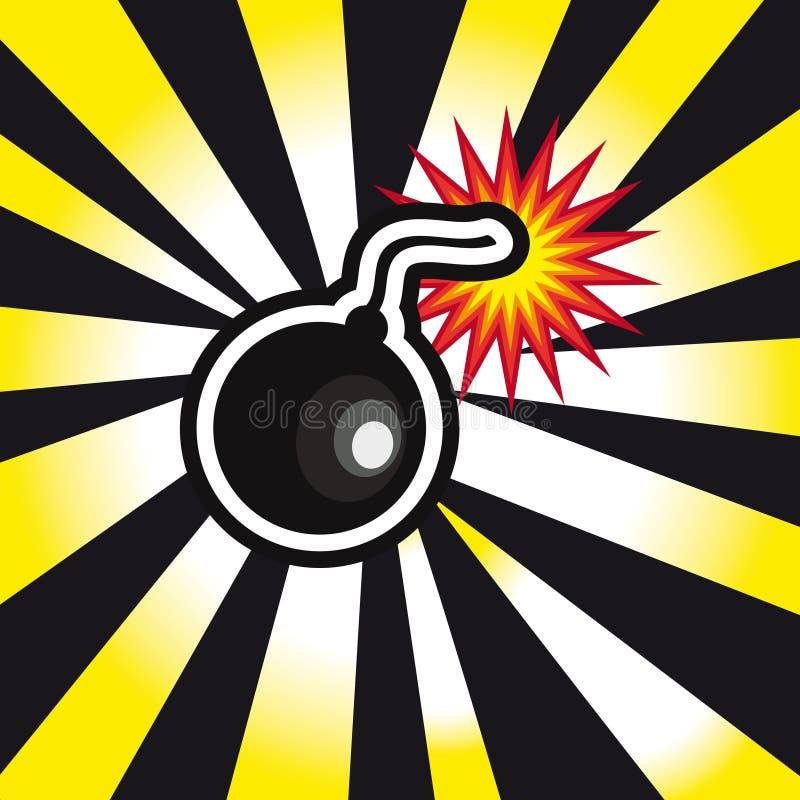 Explosão da bomba do perigo no fundo amarelo e preto ilustração do vetor