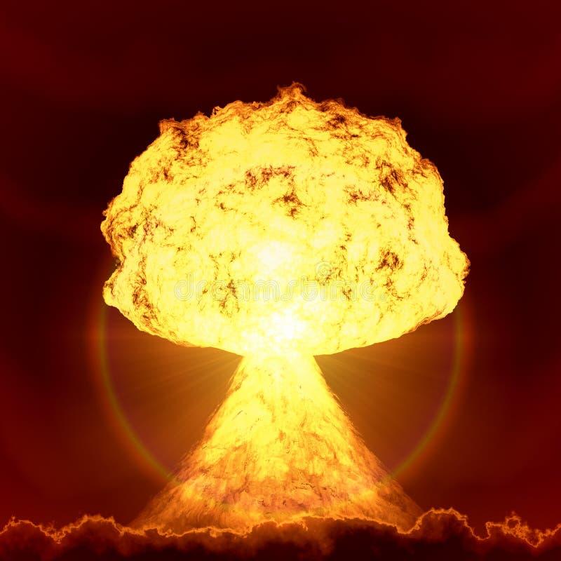Explosão da bomba nuclear ilustração do vetor