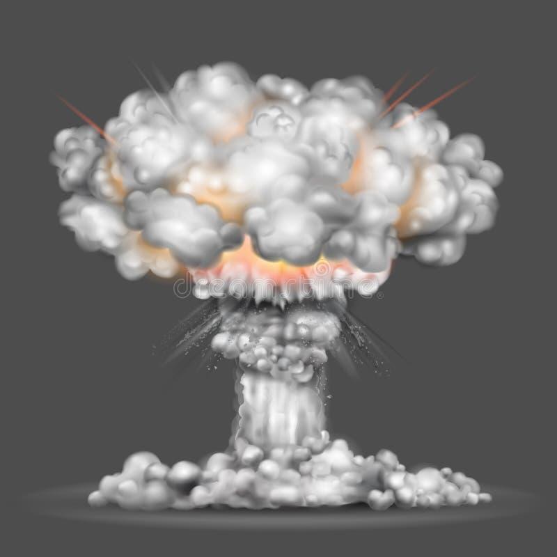 Explosão da bomba nuclear ilustração royalty free
