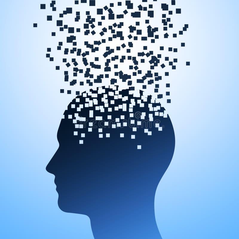 A explosão da cabeça em um fundo azul, ilustração do esforço humano, dissolução da cabeça ilustração do vetor