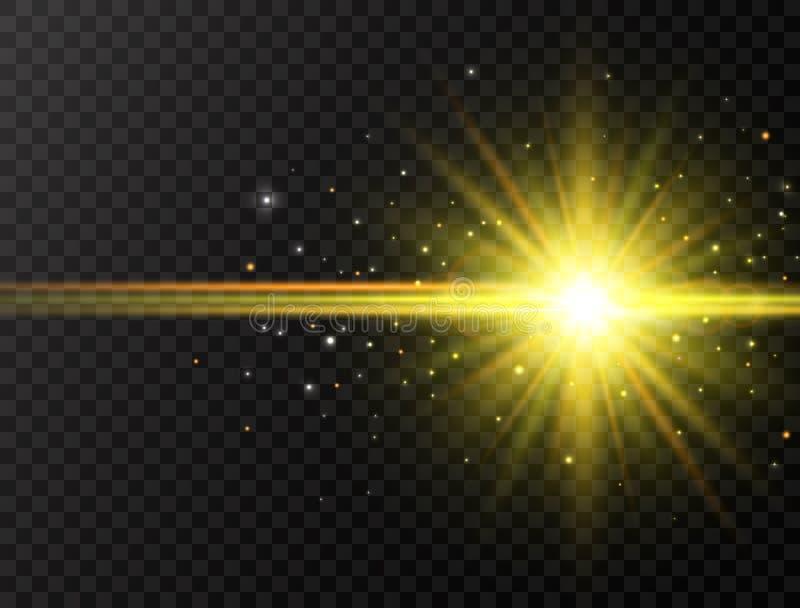 Explosão da estrela com feixes e sparkles no fundo transparente Flash de Sun com raios e projetor Efeito de incandescência ilustração royalty free