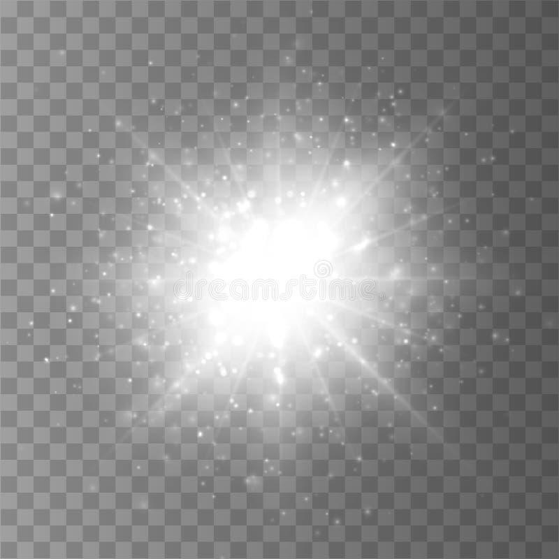 Explosão da estrela com a poeira e a faísca isoladas Efeito da luz do fulgor ilustração do vetor