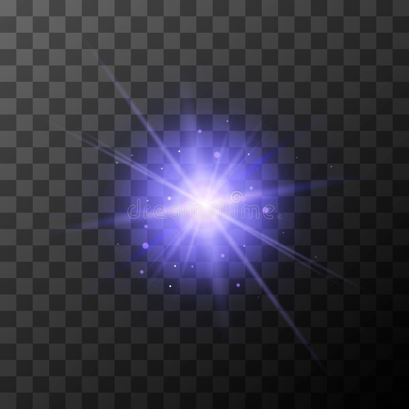 A explosão da estrela com roxo sparkles no fundo transparente ilustração royalty free