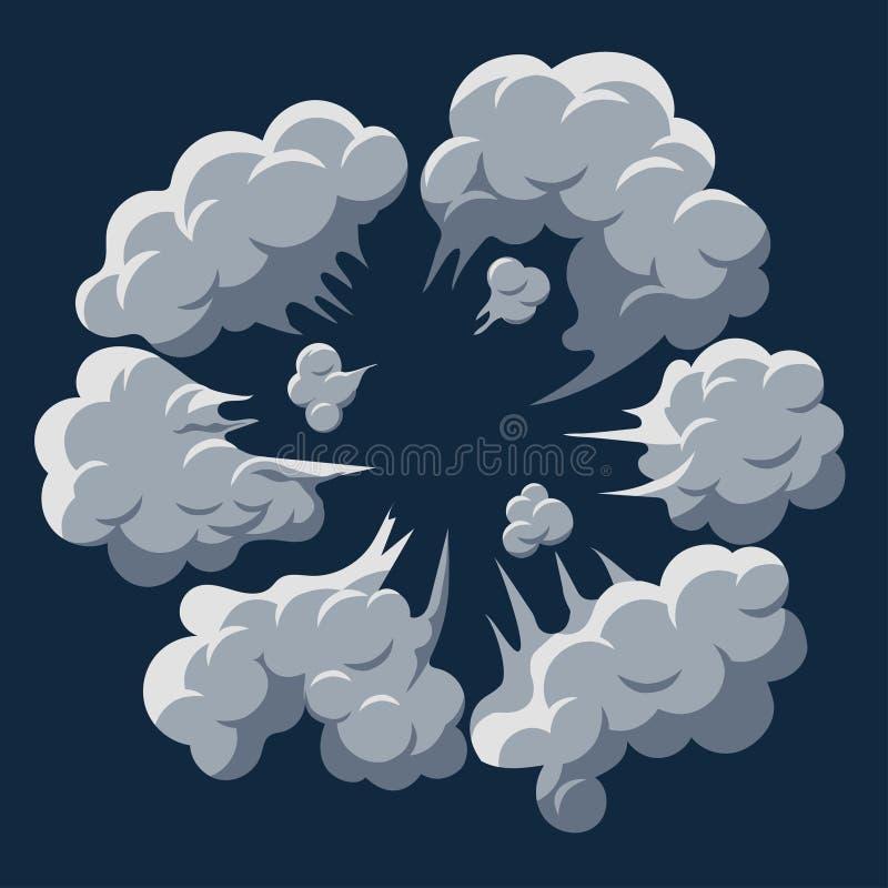 Explosão da nuvem de fumo Vetor do quadro dos desenhos animados do sopro da poeira ilustração do vetor