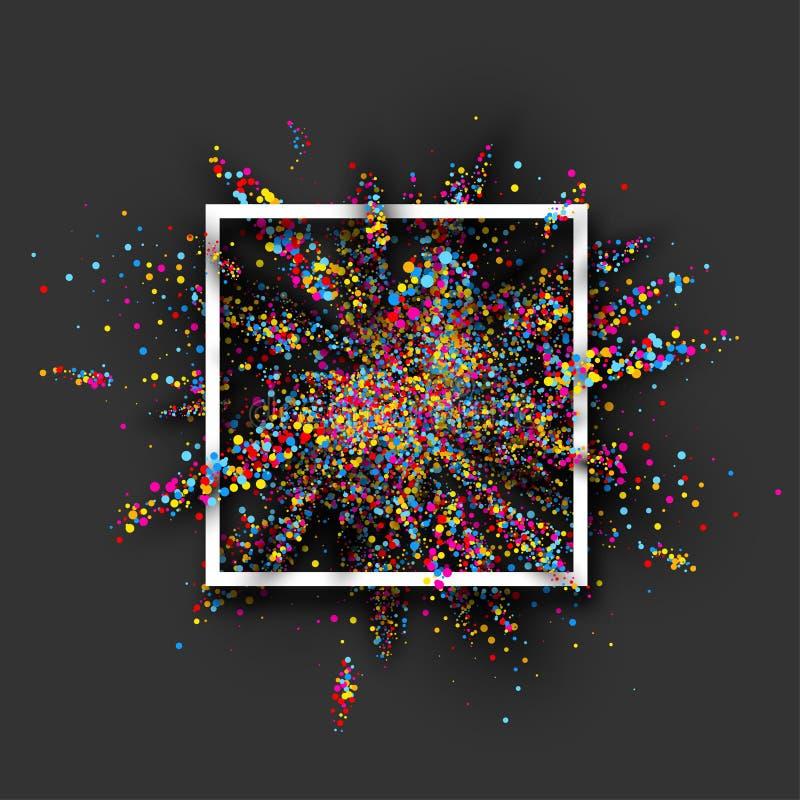 Explosão da pintura da cor no cinza ilustração royalty free