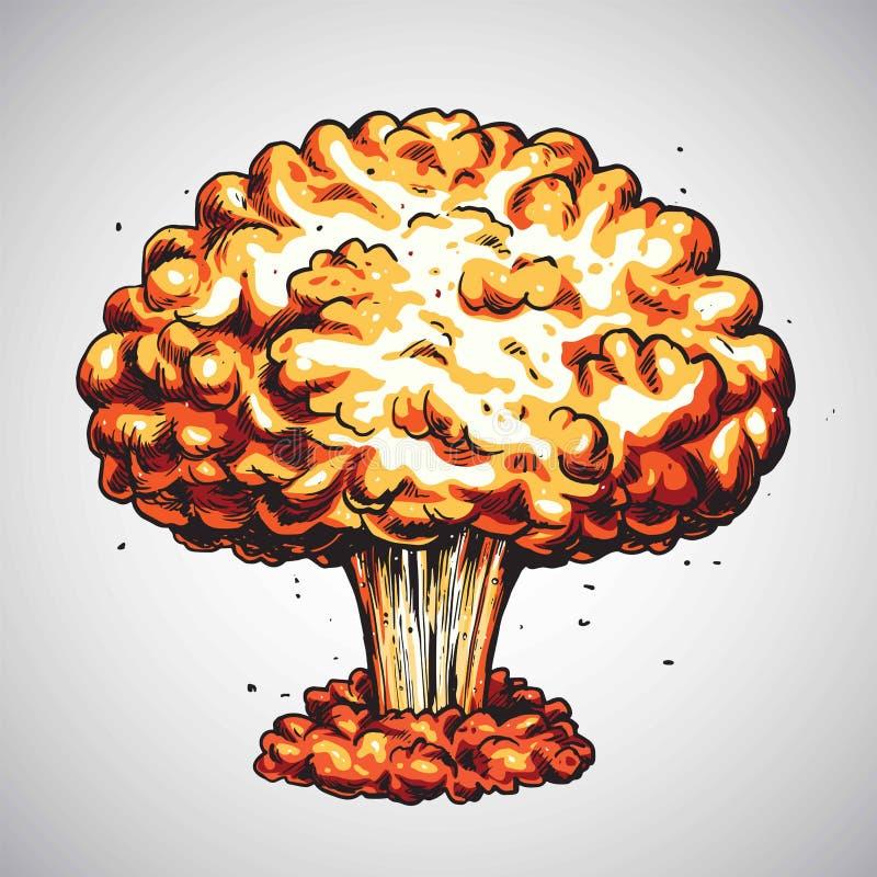 Explosão de bomba atômica no deserto Ilustração do cogumelo atômico da bomba atômica ilustração royalty free