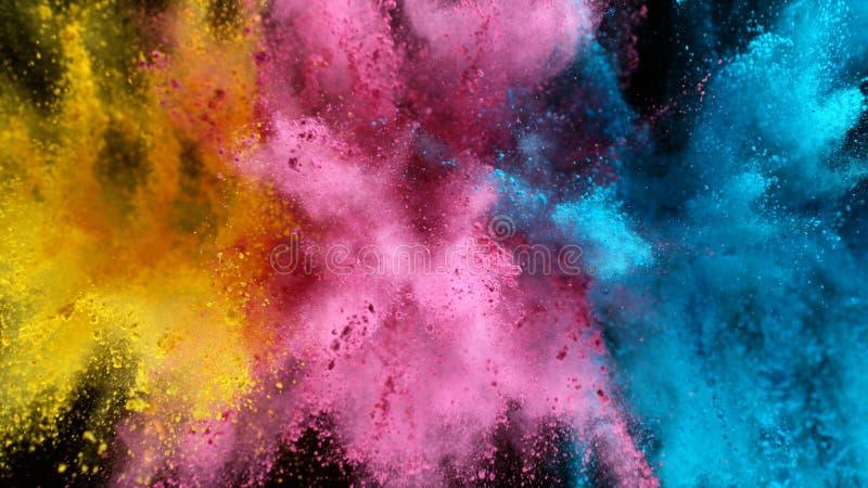 Explosão de pó colorido isolado sobre fundo negro foto de stock royalty free