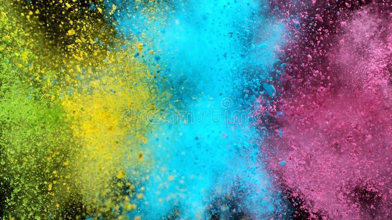 Explosão de pó colorido isolado sobre fundo negro fotos de stock