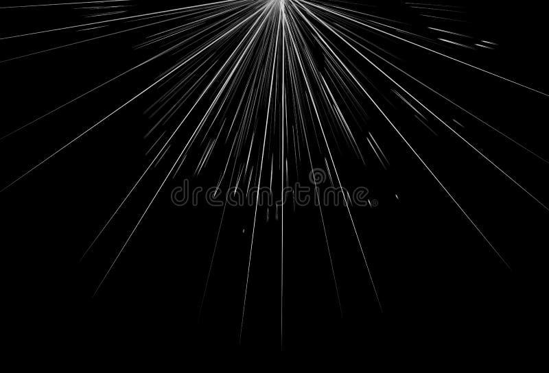 Explosão de prata das estrelas, raios claros e linhas backgr abstrato de incandescência ilustração do vetor