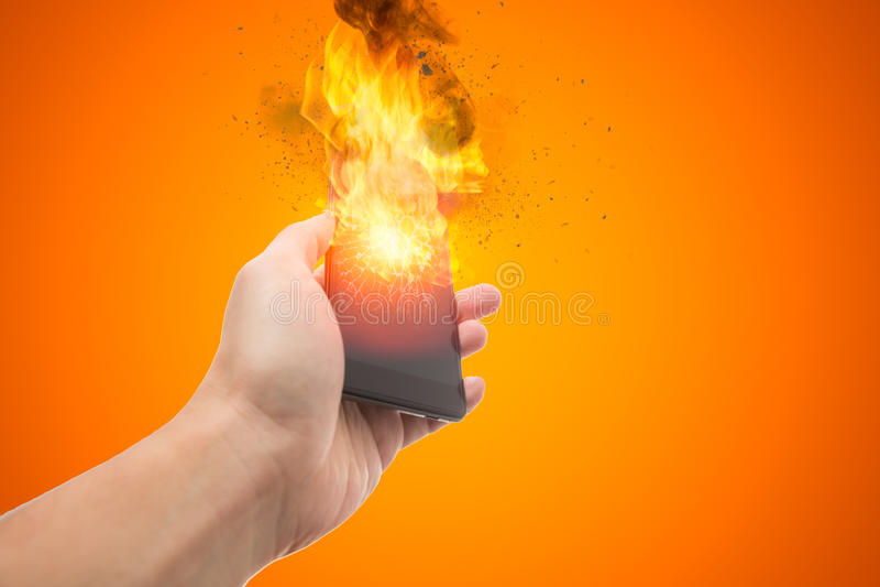 Explosão de Smartphone, bateria do telefone celular da explosão ou telefone celular explosivo imagem de stock