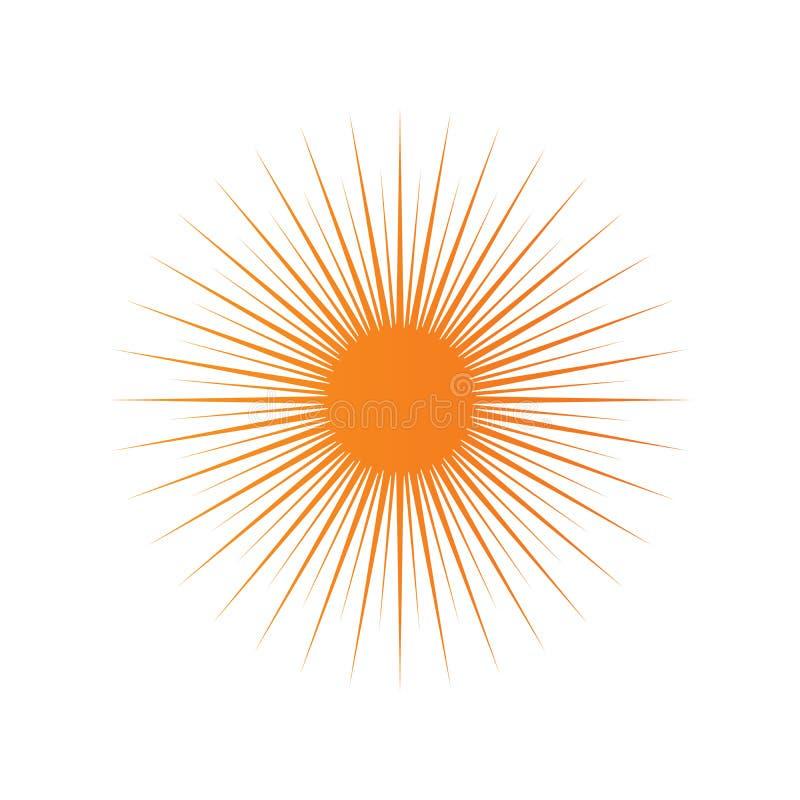 Explosão de Sun, luz do sol da explosão da estrela Irradiando do centro de feixes finos, linhas Ilustração do vetor Elemento do p ilustração stock