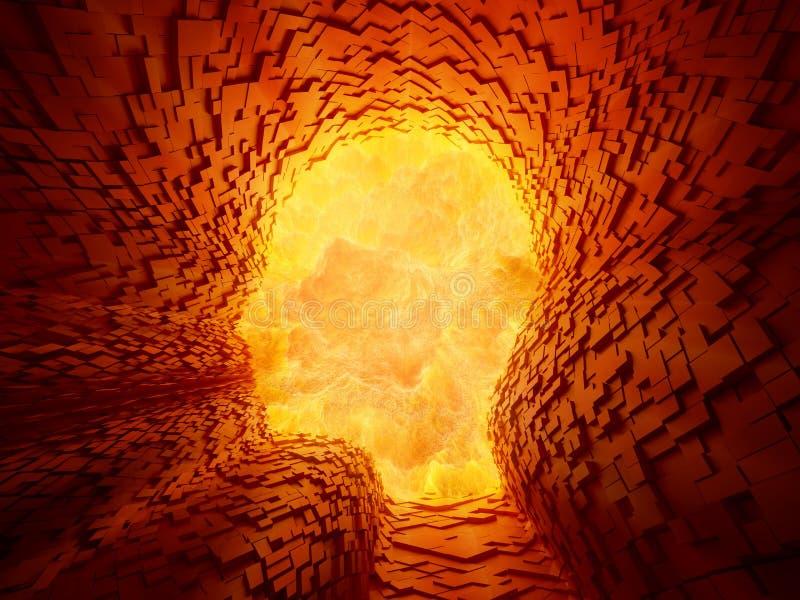 Explosão dentro de um túnel dado forma cara ilustração royalty free