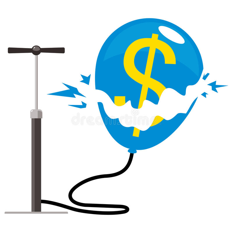 Explosão do balão do dólar ilustração do vetor