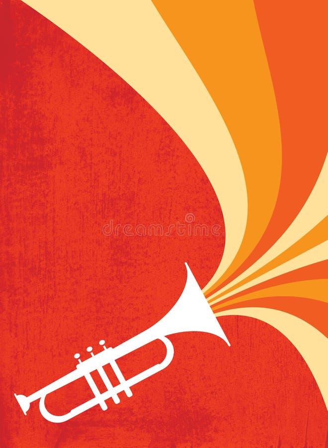 Explosão do chifre do jazz: Red_Orange ilustração do vetor