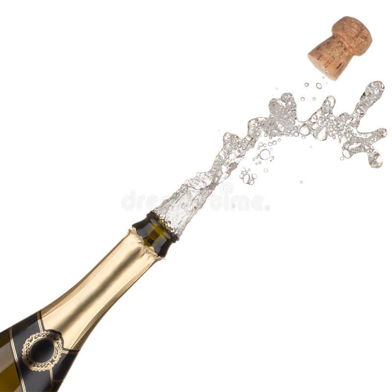 Explosão do frasco de Champagne. fotografia de stock royalty free
