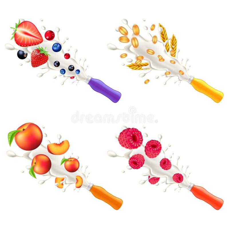 Explosão do iogurte do grupo diferente do vetor dos sabores 3d da garrafa plástica ilustração royalty free