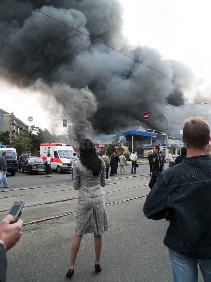 Explosão do mercado de Slavyansky em Dnipropetrovsk fotografia de stock royalty free
