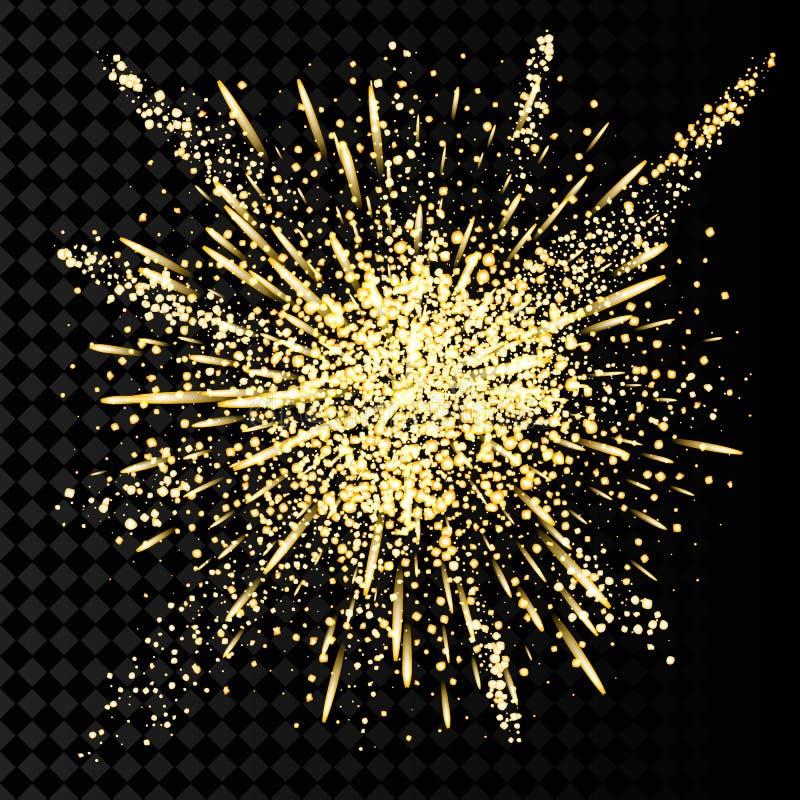 Explosão do pó do brilho do ouro As partículas douradas da poeira e da faísca espirram ou vislumbram a explosão ilustração do vetor