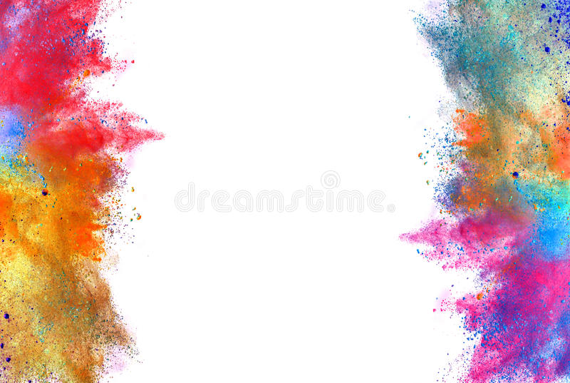 Explosão do pó colorido no fundo branco foto de stock
