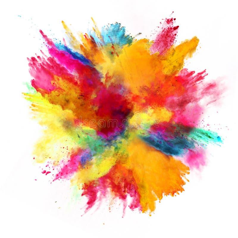 Explosão do pó colorido no fundo branco imagens de stock