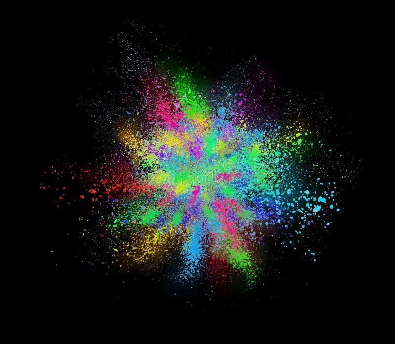 Explosão do pó cosmético colorido no fundo preto imagens de stock