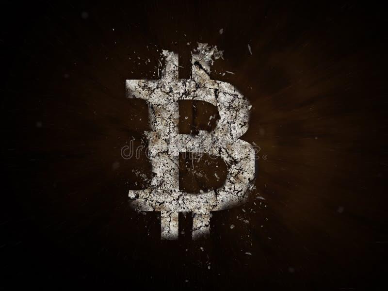 Explosão do símbolo de Bitcoin, quedas dos preços do bitcoin, preço para ir abaixo do conceito, ilustração da moeda da cripta o i ilustração royalty free